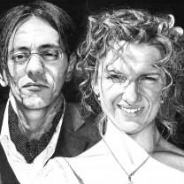 Alberto Ciro Taddei e sua moglie Iris Planinschek | disegno bianco e nero matita A3 2015 | Matrimonio