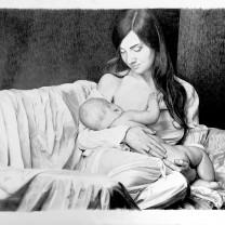 Donna con bambino | disegno bianco e nero A3 2015 | Moduli 2015 Pane Quotidiano