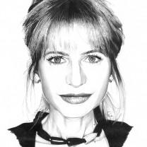 Lilly Gruber | disegno bianco e nero A4 2015 | Collezione Personalità dell'Alto Adige disegnate