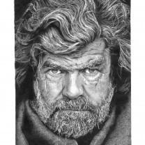 Reinhold Messner | disegno bianco e nero matita A4 2015 | Collezione Personalità dell'Alto Adige disegnate