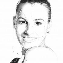 Tanja Cagnotto | disegno bianco e nero matita A4 2015 | Collezione Personalità dell'Alto Adige disegnate